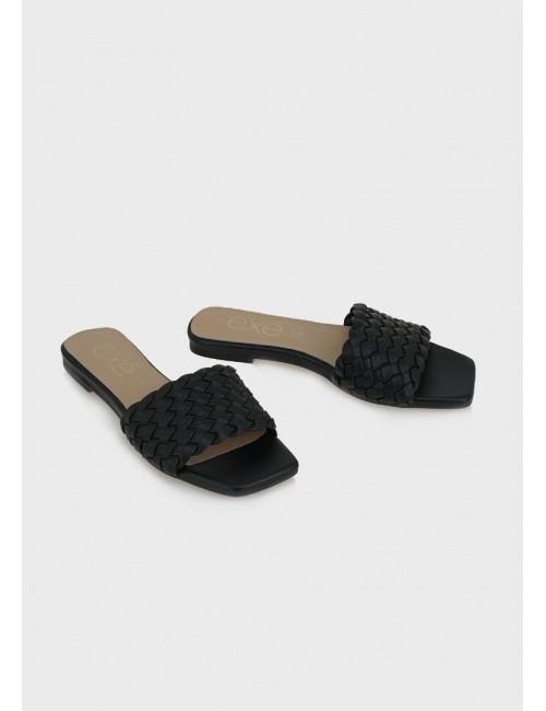 Γυναικείο παπούτσι flat EXE M47005561001 ΜΑΥΡΟ